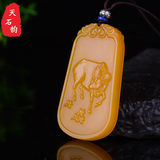 Hetian jade Huanglong jade 12 Zodiac pendant three-dimensional jade pendant men and women models topaz zodiac belongs to cattle jade pendant