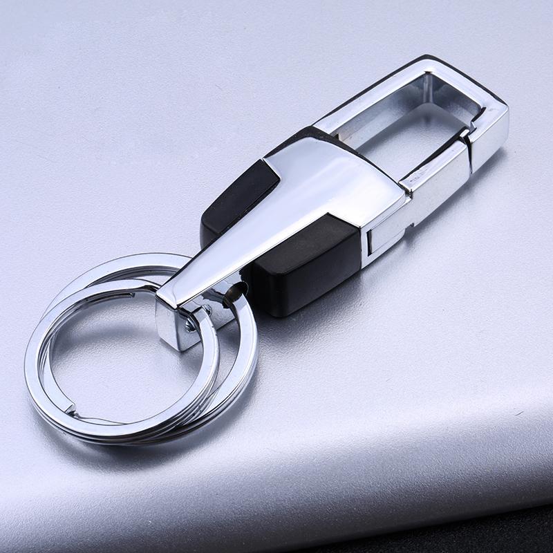 男士汽车钥匙扣金属定制钥匙圈广告礼品商务时尚双环钥匙圈刻字