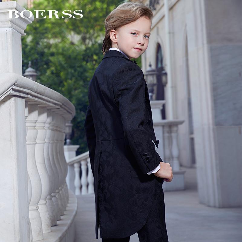 BOERSS男童礼服套装燕尾服 男童西装套装演出服模特时尚走秀礼服