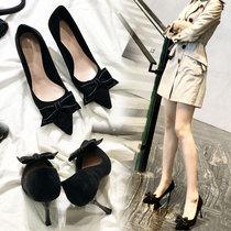 鞋子女2019新款一字扣带细跟女凉鞋女黑色高跟鞋绒面百搭露趾女鞋