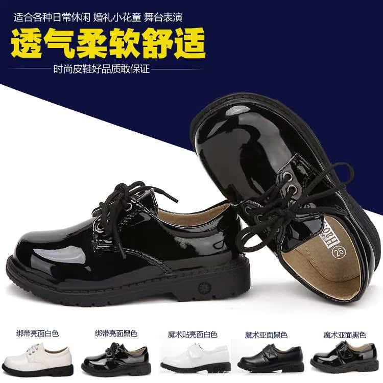 2017新款男童新秋皮鞋宝宝礼服表演出学生中大童系带儿童黑色皮鞋