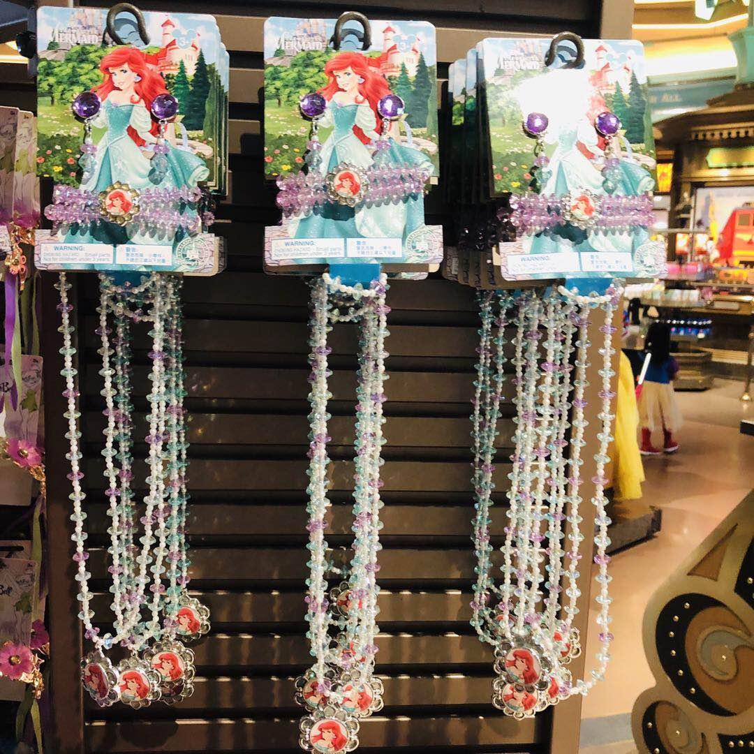 上海迪士尼国内代购爱莎安娜美人鱼白雪儿童公主项链装扮儿童礼物