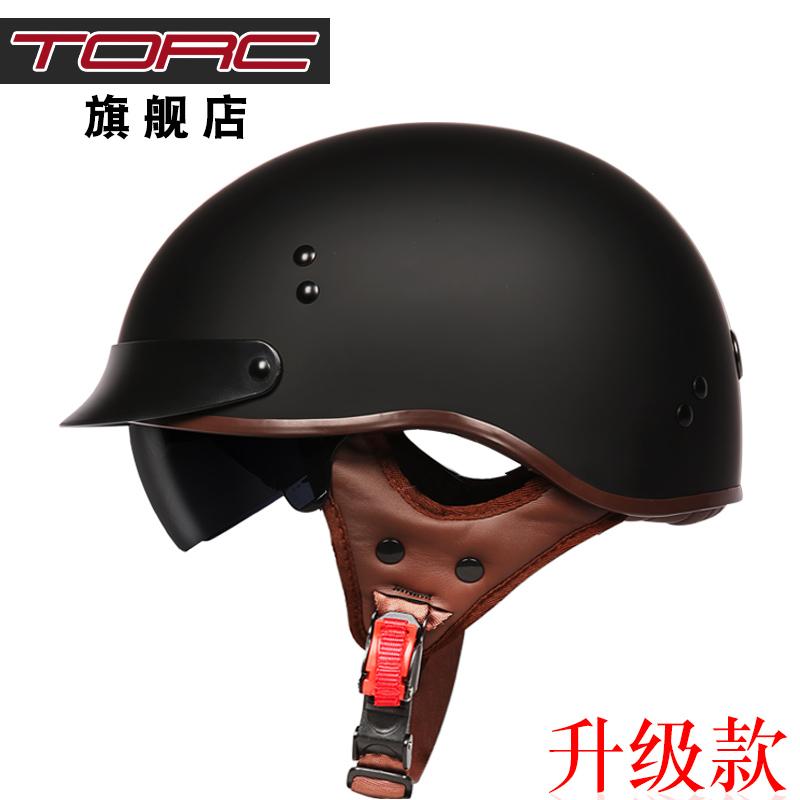 TORC复古机车头盔男摩托车半盔覆式夏季女电动车轻便安全帽个性酷