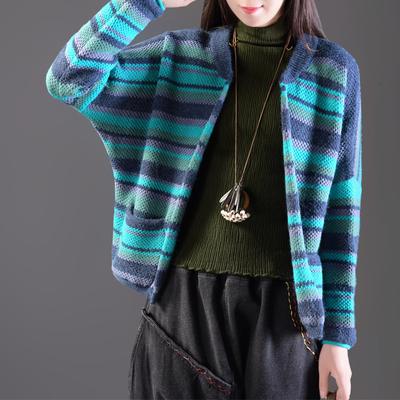 秋季新文艺休闲撞色条纹外套女宽松百搭蝙蝠长袖短款针织开衫毛衣