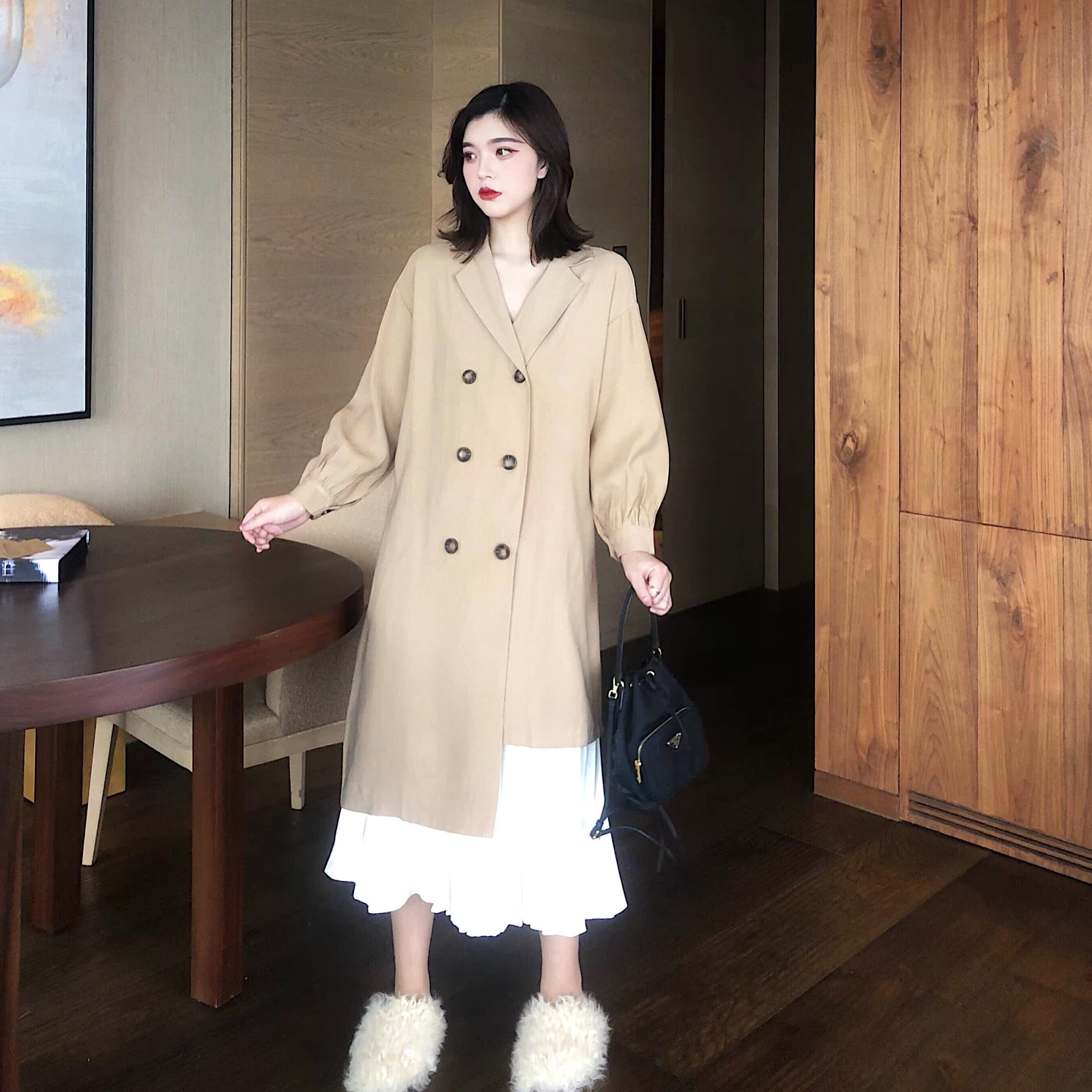 秋装女2018新款套装时尚气质下摆不规则长款风衣外套+高腰半身裙
