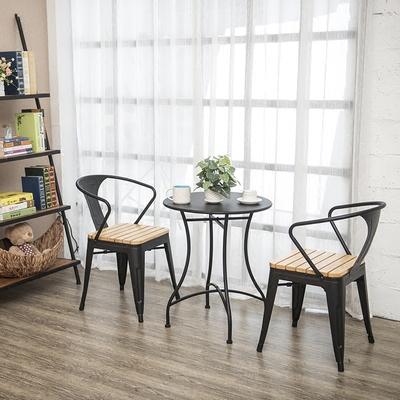 阳台桌椅三件套户外创意组合北欧实木省空间休闲铁艺小圆桌