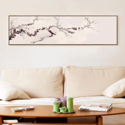 新中式梅花海棠写意花鸟客厅背景墙床头装饰书房挂画横幅长条墙画领取优惠券