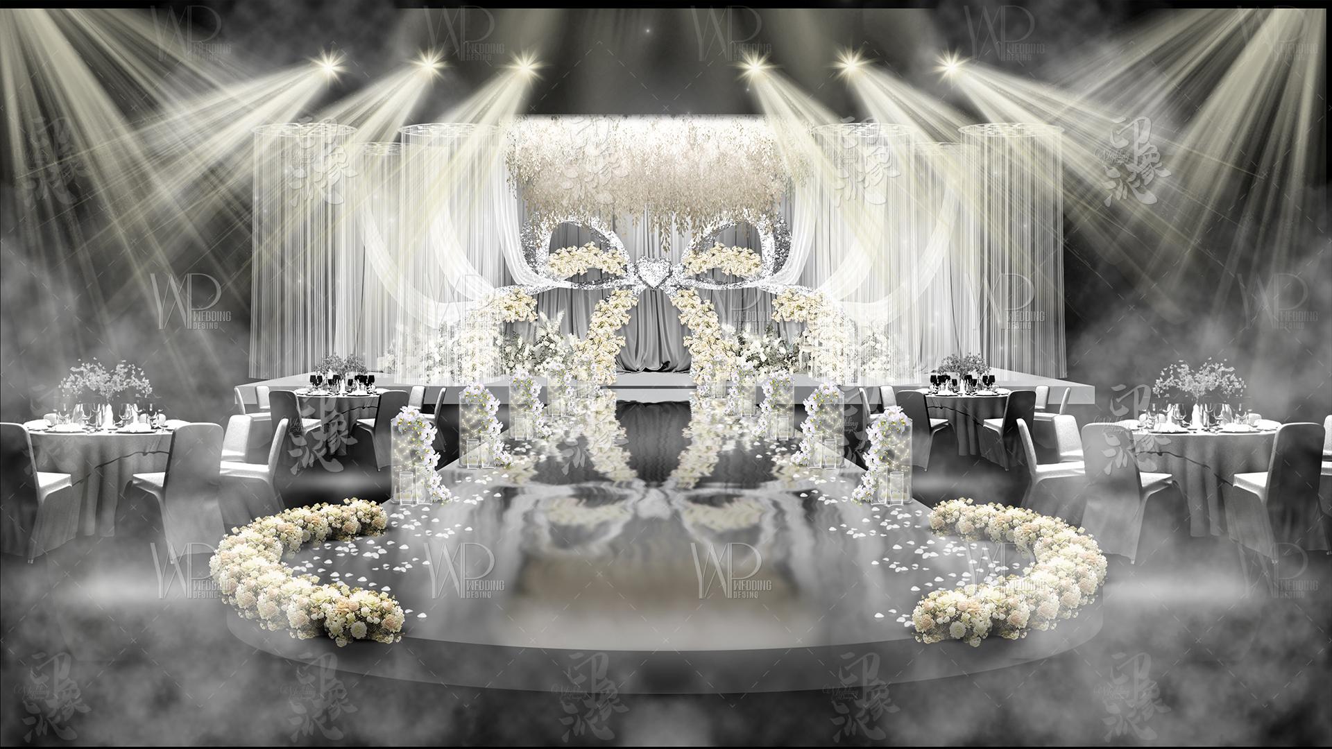 银灰色蝴蝶结主题方案婚礼设计效果图PSD平面源文件背景素材71225