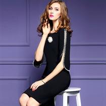 2018春季新款大码欧美中袖连衣裙修身收腰钉珠一步裙女装 欧洲站