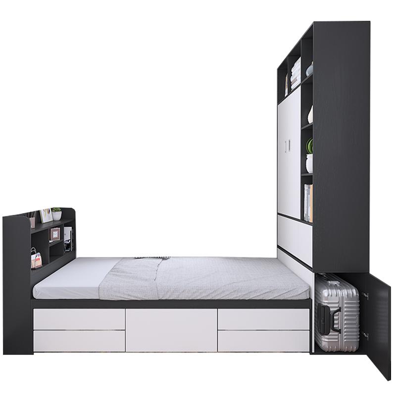 榻榻米床现代简约定制多功能高箱储物收纳整体书柜衣柜一体小户型