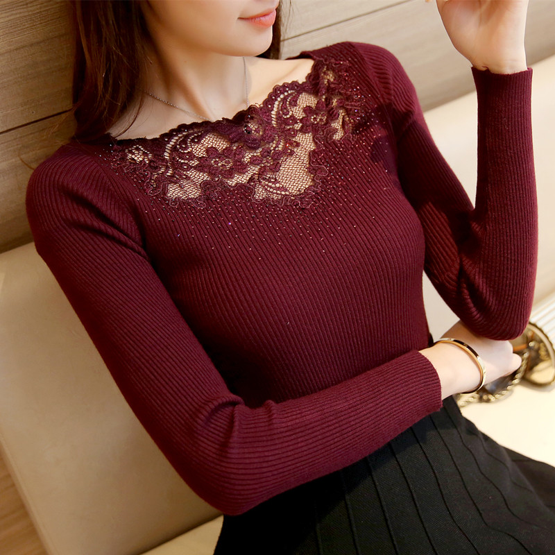 韩版烫钻针织衫