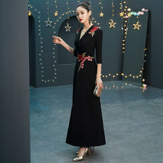 Black evening dress women 2019 new banquet noble elegant long temperament fashion scene queen sexy thin