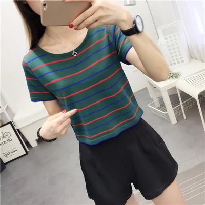 短袖T恤女条纹修身短款韩版百搭学生半袖女装夏装2018新款上衣服