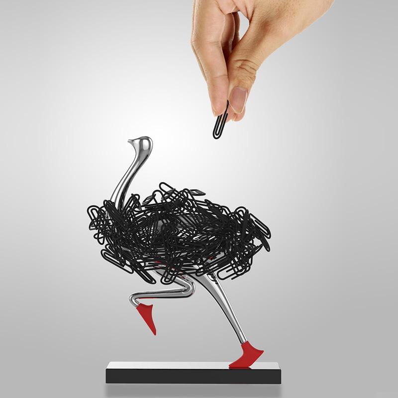 性动物摆件办公礼物鸵鸟磁吸桌面回形针座曲别针收纳盒架创意个