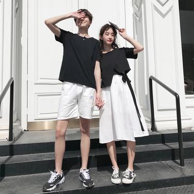 情侣装2019夏季新款港味小众半身裙女+短袖T恤男套装设计感班服潮