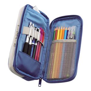 日本LIHIT LAB.SMART FIT双层拉链笔袋大容量商务学习文具盒笔筒