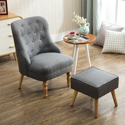 美式单人沙发椅 卧室阳台咖啡厅休闲简约欧式布艺小沙发 北欧沙发今日特惠