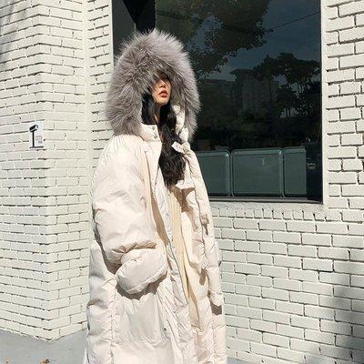 派希图冬季大毛领棉衣女韩版中长款过膝加厚羽绒棉服宽松棉袄外套