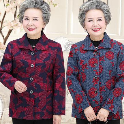 中老年女装外套夹克短款风衣西装中年妈妈装春装大妈奶奶装老年