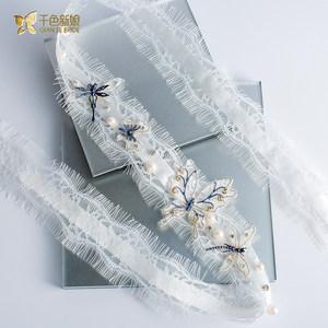 千色新娘婚纱头饰新娘仙礼服甜美蕾丝2018新款韩式结婚发带听曼T