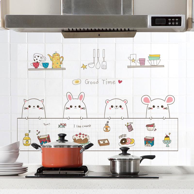 厨房家用透明防油烟墙纸耐高温加厚墙贴壁纸灶台瓷砖防水自粘贴纸