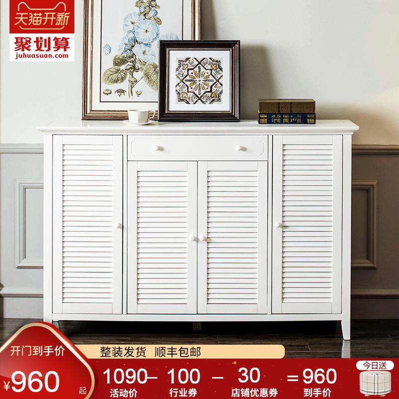 实木鞋柜门口门厅柜北欧简约现代大容量百叶门美式玄关柜白色原木