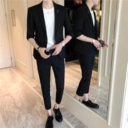 西装两件套男帅气夏季薄款短袖西服套装潮韩版修身英伦小脚九分裤