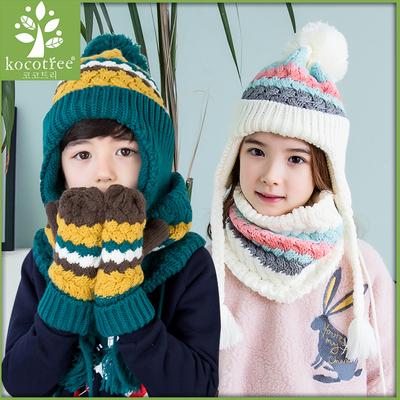 韩版新款秋冬天儿童帽子围巾手套三件套宝宝围脖套装保暖潮加厚