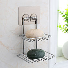 Bathroom double-deck soap rack toilet shelf toilet shelf receptacle rack punch-free strong suction cup wall rack