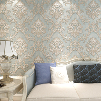 立体精压墙纸大马士革客厅卧室电视背景墙壁纸简约3d无纺布欧式