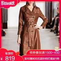 收腰修身显瘦棕色西装领PU皮衣风衣外套女中长款2018秋冬装新款