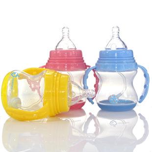 熱銷嬰兒奶瓶帶吸管防摔寬口徑PP塑料耐摔初生大寶寶防脹氣喝水
