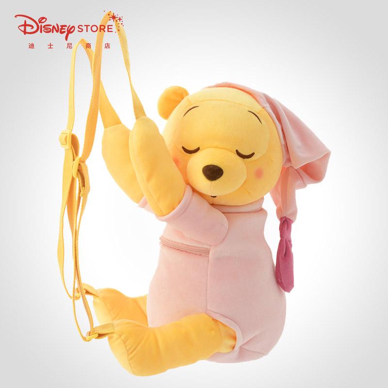 迪士尼时尚小熊维尼粉色毛绒玩偶可爱公仔背包双肩包毛毛包Disney