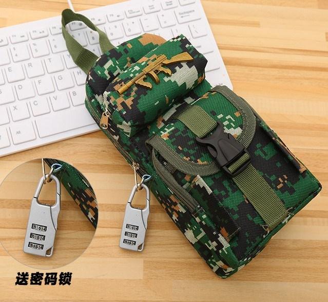 创意手提小学生笔袋男生男孩带锁迷彩文具袋密码锁帆布儿童文具盒