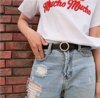无孔圆扣学生皮带女 韩版时尚装饰简约百搭韩国细腰带裤带潮黑色