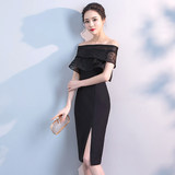 Black small evening dress skirt female short section was thin 2019 fashion party party banquet temperament gas field ladies queen