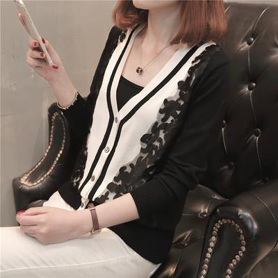 2018早春新款开衫短款韩版针织蕾丝拼接女装上衣修身百搭毛衣外套