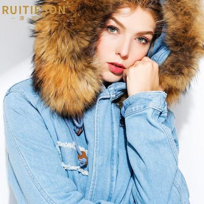瑞泰盛女装冬季貉子毛领牛仔派克大衣水貂皮草内胆尼克服保暖外套