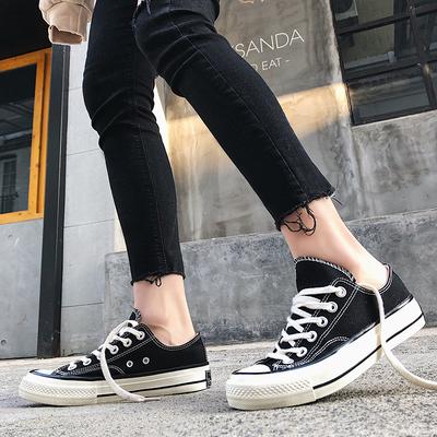 2018新款低帮百搭帆布鞋女 学生韩版原宿紫色黑色街拍款小白鞋