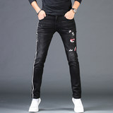 Men's Hole-piercing Embroidered Jeans Men's Chao Brand Spring and Autumn Leisure and Body-building Short-legged Pants Printing Trend Black