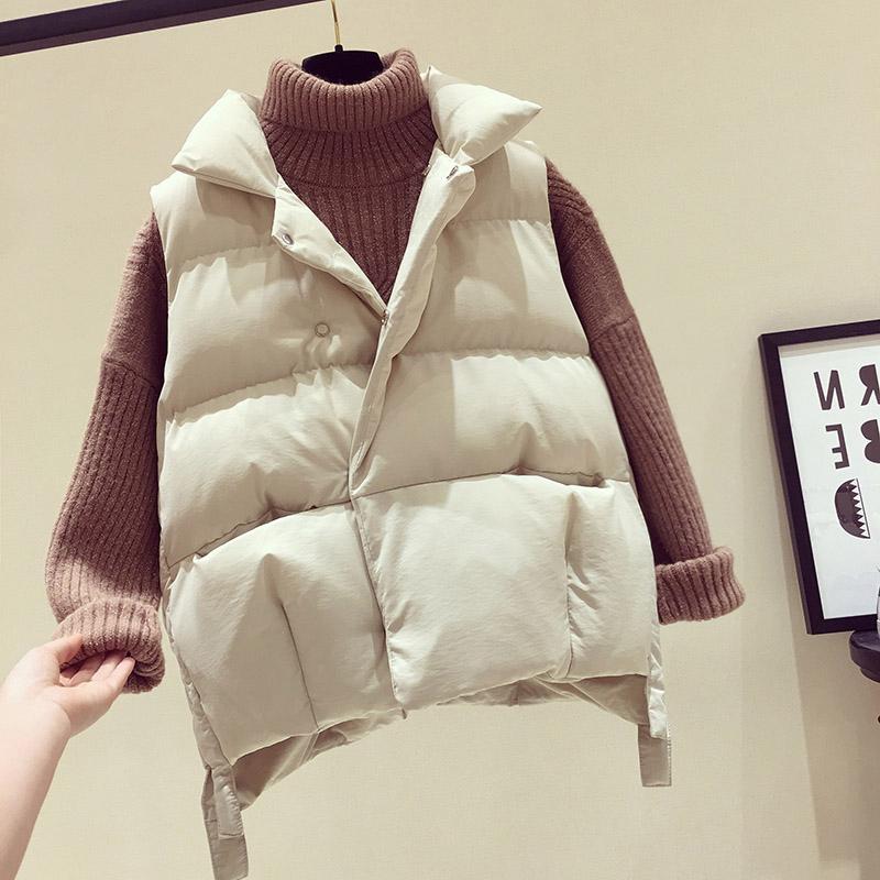 2018 new black down cotton vest ladies autumn and winter short student vest