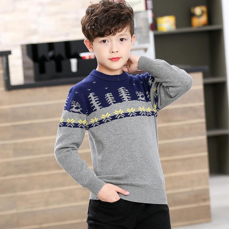 童装男童毛衣套头中大童线衣纯棉加厚加绒秋冬新款韩版儿童针织衫