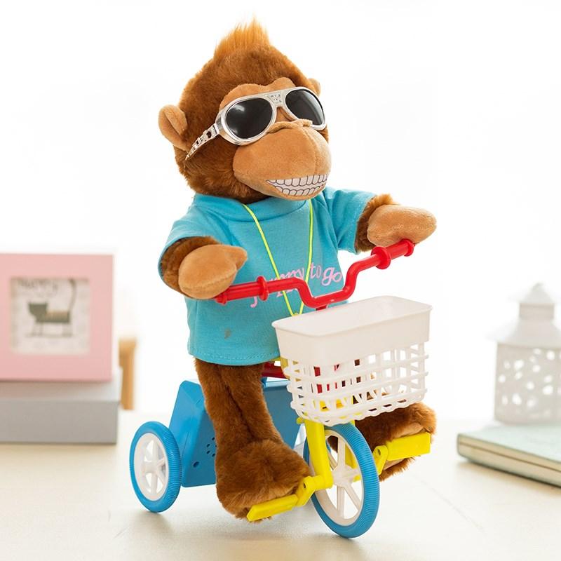 玩具电动毛绒猴子狗狗会唱歌的自行车小毛驴会骑单车的儿童猴子猪