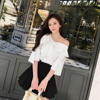 Very immortal foreign-style off-the-shoulder jacket, chiffon shirt, female design, feeling a small word, shoulder shirt, female fairy fan
