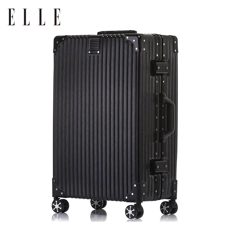 ELLE铝框拉杆箱女万向轮旅行箱20寸密码登机箱学生24寸拉链行李箱