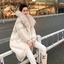 亮面中长款大狐狸毛领冬装2018新款韩版加厚白鸭绒羽绒服女装图片