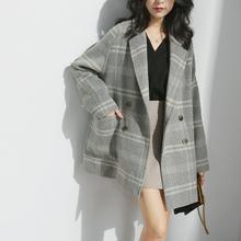 韩版 小个子毛呢外套女短款 宽松流行格子大衣女潮 芭衫 2019秋冬新款图片
