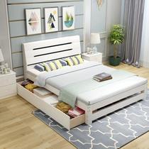 双人学生北欧时尚风格欧式床儿童床实木落地公主风主卧简约现代松