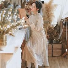 连衣裙女学生仙女超仙甜美 气质法式少女复古蕾丝长袖 2019秋装 新款图片