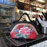 复古真皮手提包民族风牛皮新款 包包热卖 苏绣牡丹花时髦气质女包